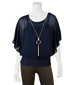 A. Byer Flutter Sleeve Necklace Top