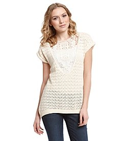 Ruff Hewn Openstitch Lace High Low Sweater