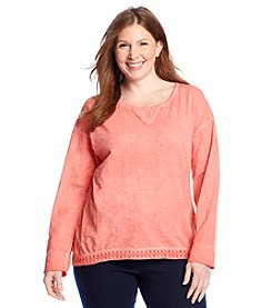 Ruff Hewn Plus Size Lace Chip Drop Shoulder Tee