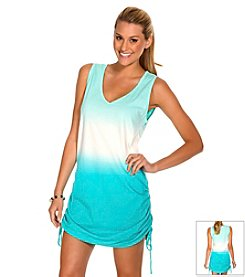ECO SWIM by AquaGreen® Women's Shirred Dipdye Coverup Dress