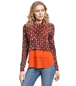 MICHAEL Michael Kors® Woven Hem Print Sweater