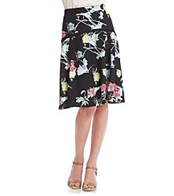 NY Collection Floral Skater Skirt