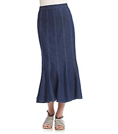 Studio West Solid Flare Long Denim Skirt