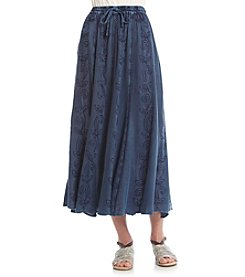 Studio West® Solid Embroidered Long Skirt