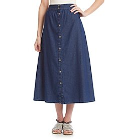 Studio West® Solid Button Down Denim Skirt
