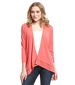 Notations® Solid Chiffon Trim Cardigan