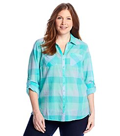Relativity® Plus Size Buffalo Check Roll Sleeve Utility Shirt