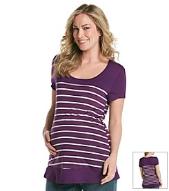 Three Seasons Maternity™ Solid Yoke Stripe Knit Top