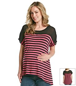 Three Seasons Maternity™ Stripe Top With Chiffon Yoke
