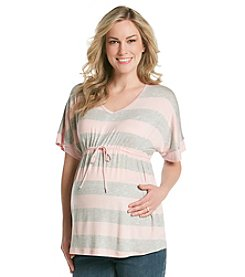 Three Seasons Maternity™ Short Sleeve V-Neck Stripe Tunic
