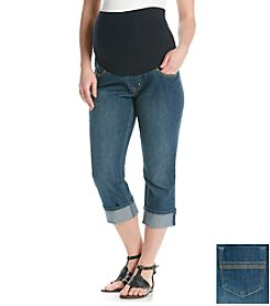 Three Seasons Maternity™ Dark Stonewash Denim Roll Cuff Capris