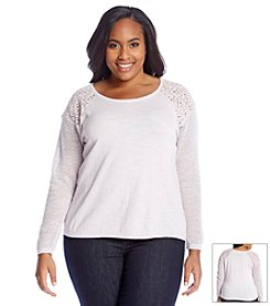 DKNY JEANS® Plus Size Lace Mix Pullover