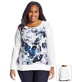 DKNY JEANS® Plus Size Floral Eyelet Top