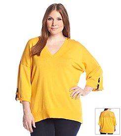 MICHAEL Michael Kors® Plus Size Roll Sleeve Mesh Back Sweater