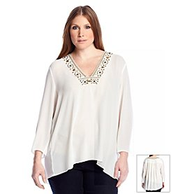 MICHAEL Michael Kors&Reg; Plus Size Embellished V-Neck Top