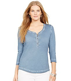 Lauren Ralph Lauren® Plus Size Crop-Sleeved Henley Top