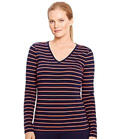 Lauren Active® Plus Size Striped V-Neck Top