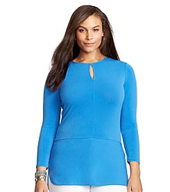 Lauren Ralph Lauren® Plus Size Stretch-Jersey Keyhole Top