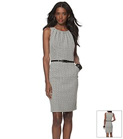 Chaps® Geo-Print Belted Dress
