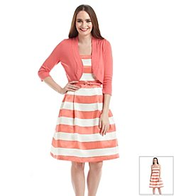 Jessica Howard® Striped Sweater Shrug Dress
