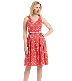 Kasper® Polka Dot Belted Dress