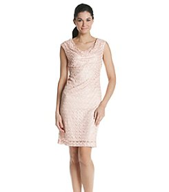 Connected® Lace Drape Neck Dress