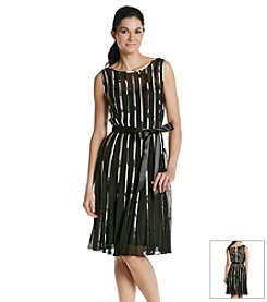 S.L. Fashions Mesh Striped Dress