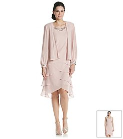 S.L. Fashions Beaded Jacket Shutter Dress