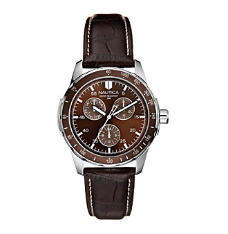 Nautica Men's Multifunction Brown Leather Watch