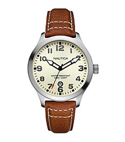 Nautica® Men's Cognac Pebble Grain Leather Strap Watch