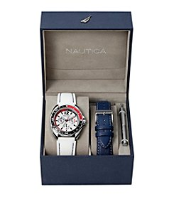 Nautica® Men's White & Blue Sport Ring Multifunction Watch Box Set