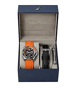 Nautica® Men's Orange & Black Sport Ring Multifunction Watch Box Set