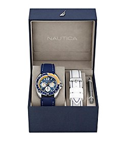 Nautica® Men's Blue & White Sport Ring Multifunction Watch Box Set
