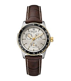 Nautica® Men's Multifunction Brown Leather Watch