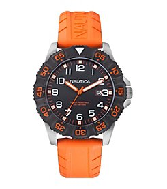 Nautica® Men's Multifunction Orange Rubber Watch