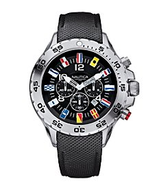 Nautica® Men's Black PU Leather Chronograph Watch