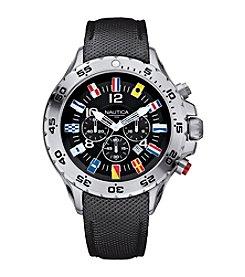 Nautica® Men's Black PU Leather Chronograph Watch