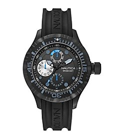 Nautica® Men's Black Silicone Multifunction Watch
