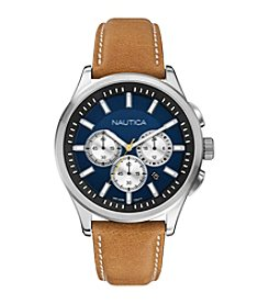 Nautica® Men's Tan PU Leather Chronograph Watch
