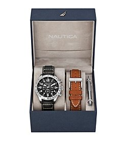 Nautica® Men's Black & Brown Leather Chronograph Watch Box Set