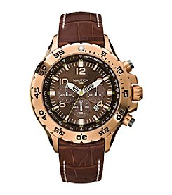 Nautica® Men's Brown Leather Chronograph Watch