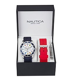 Nautica® Men's Navy & Red Multi-function Watch Box Set
