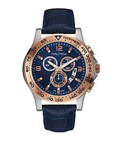 Nautica® Men's Navy Leather Chronograph Watch