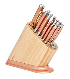 KitchenAid® 14-pc. Iconic Bamboo Block with Copper Aluminum Polished Base and Stainless Steel Knife Set