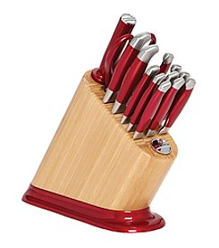 KitchenAid® 14-pc. Iconic Bamboo Block with Candy Apple Red Aluminum Polished Base and Stainless Steel Knife Set