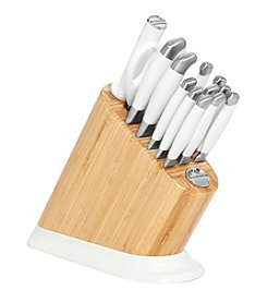 KitchenAid® 14-pc. Iconic Bamboo Block with White Frosted Pearl Aluminum Polished Base and Stainless Steel Knife Set