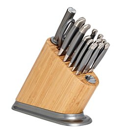 KitchenAid® 14-pc. Iconic Bamboo Block with Silverite Aluminum Polished Base and Stainless Steel Knife Set