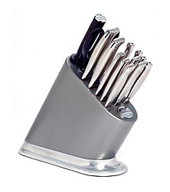 KitchenAid® 14-pc. Iconic Silverite Painted Block with Aluminum Polished Base and Stainless Steel Knife Set
