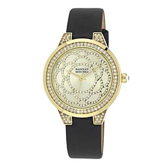 Badgley Mischka® Swarovski Crystal Accented Goldtone and Black Leather Strap Watch
