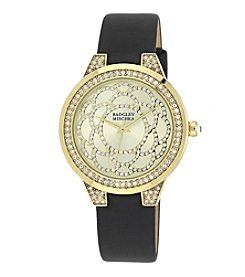 Badgley Mischka® Swarovski Crystal Accented Goldtone and Black Leather Strap Watch